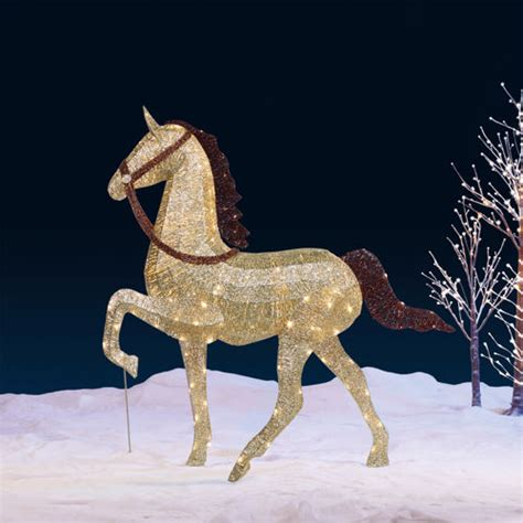 60 quot chagne glitter string horse with 240 led lights