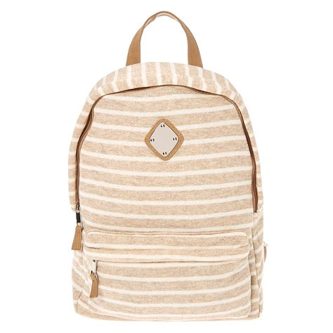 neutral striped backpack s us