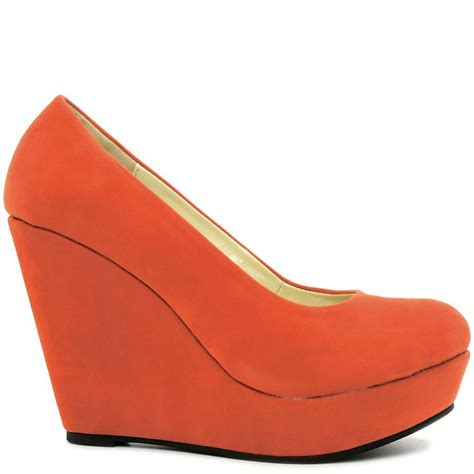 wedge heel platform court shoes orange suede