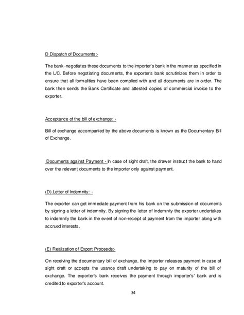 Bank Indemnity Letter Sle Export Doc Process Of Ground Nut