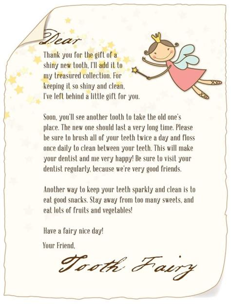 download a letter from the tooth fairy the tooth fairy