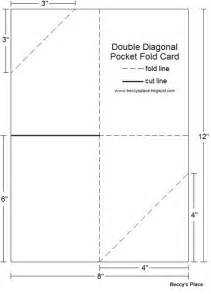 diagonal double pocket card with tutorial templates