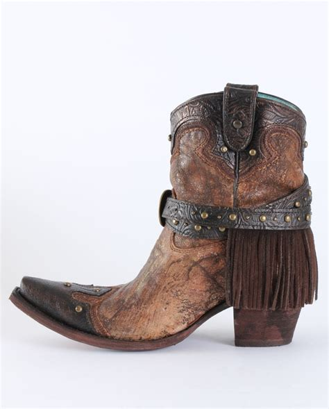 corral boots 174 snip toe ankle fringe boots fort
