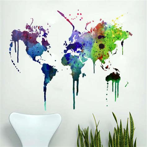wall stickers world map graffiti travel decals watercolor world map