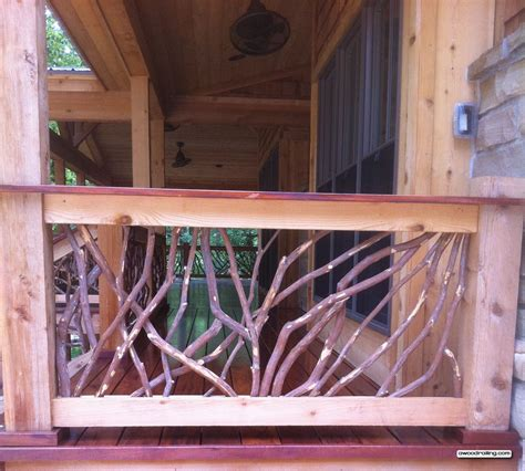 porch banisters mountain laurel handrail installed on the porch of a hewn log home