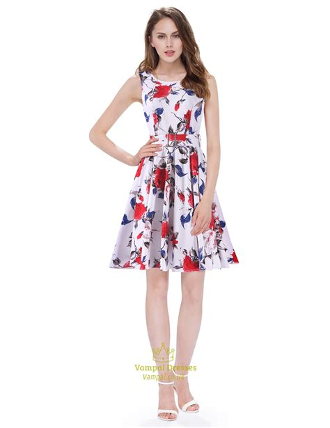 boat neck dress floral white boat neck floral sleeveless skater short summer