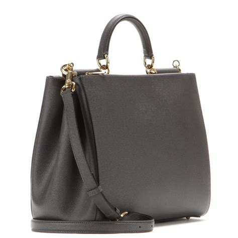 Dolce And Gabbana Miss Quilt Patent Leather Tote by Dolce Gabbana Sicily Leather Tote In Gray Lyst