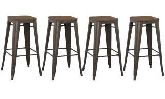 Rustic Wood And Metal Bar Stools 30 Inch Industrial Rustic Metal Bar Stool With Wood Top