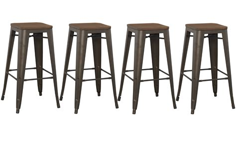 metal bar top 30 inch industrial rustic metal bar stool with wood top set of 4