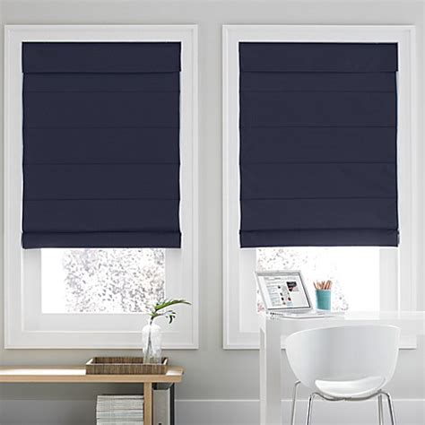 real simple bathroom real simple 174 roman shade in navy bed bath beyond