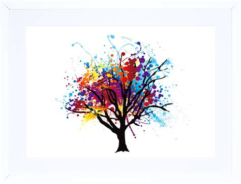 colorful tree painting abstract colourful tree splash framed print