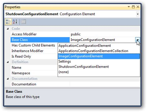 custom configuration section stacking code