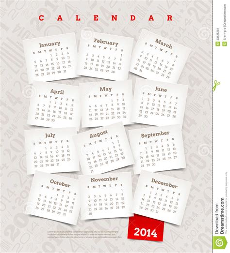 decorative calendar template decorative calendar of 2014 stock image image 33125281