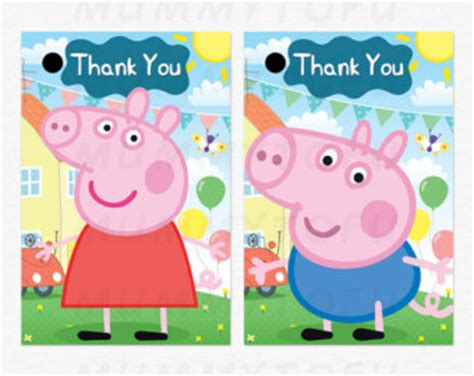 Peppa Pig Thank You Card Template by Mummytofu On Etsy Handmade Hunt