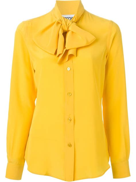 Yell O Blouse moschino pussybow blouse in yellow lyst