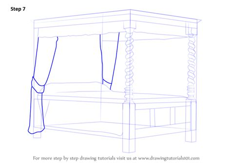 how to draw a bed step by step learn how to draw a four poster bed furniture step by