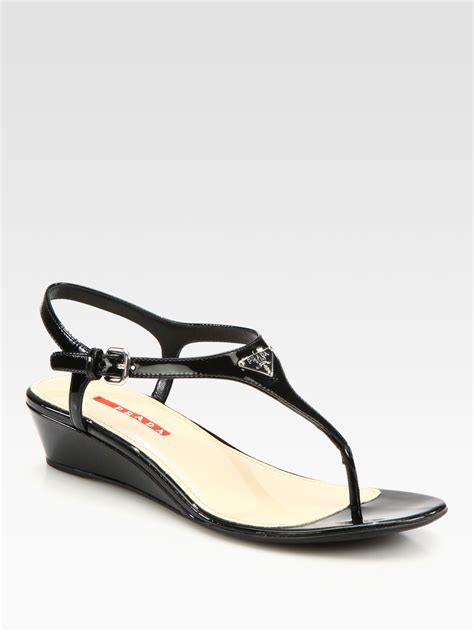 black prada sandals prada patent leather wedge sandals in black lyst