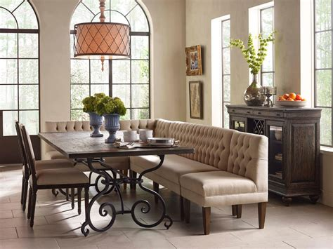 dining room table with banquette seating kincaid furniture artisan s shoppe dining seven piece rectangular table with