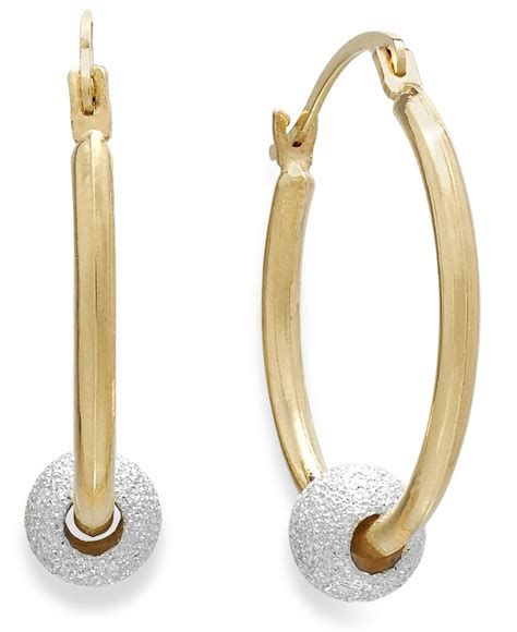 macy s beaded hoop earrings in 10k gold and sterling