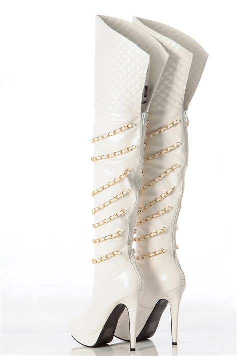 white faux leather quilted thigh high platform boots