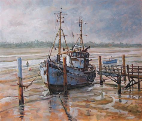 boat oil painting fishing boat paintings