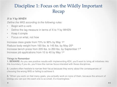 wildly important goals template 4 disciplines of execution presentation