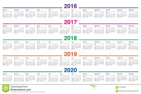 Calendã Unb 2018 Calendar 2016 2017 2018 2019 2020 Stock Vector Image