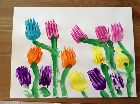 spring projects tulip painting using forks preschool craft spring