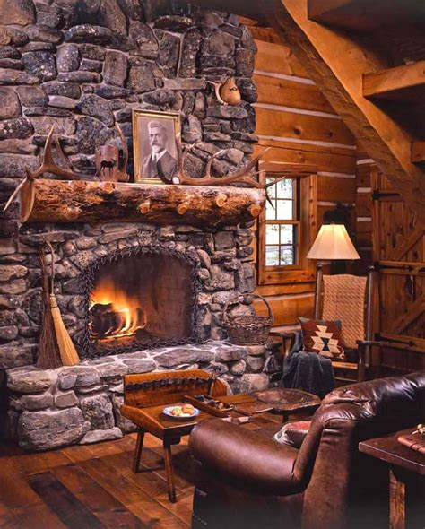 cabin fireplace on fireplace rustic