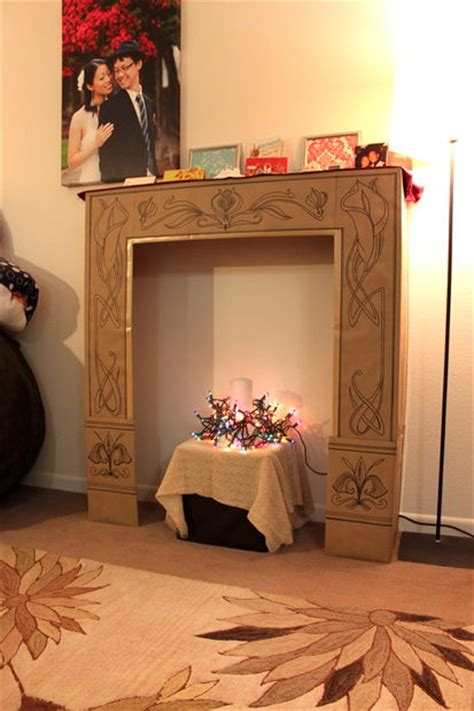 How To Make A Cardboard Fireplace For by Cardboard Faux Fireplace 6 Steps With Pictures