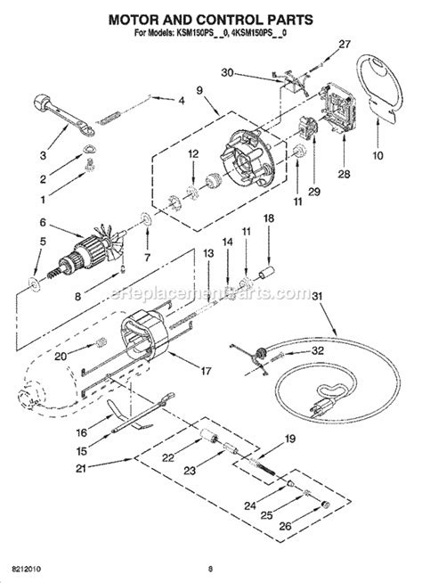 kitchenaid artisan mixer parts diagram kitchenaid ksm150psac0 parts list and diagram