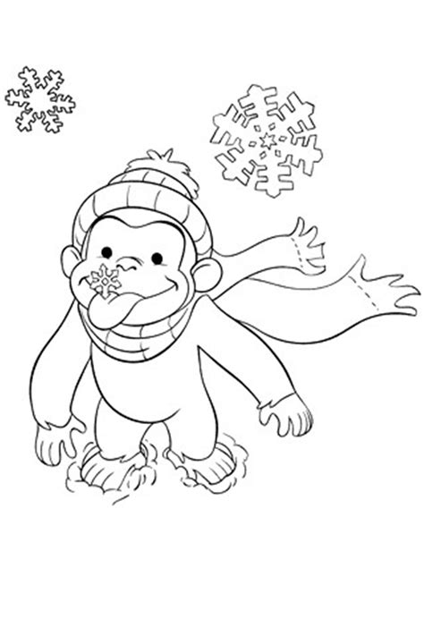 curious george snow curious george coloring pages