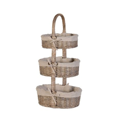 Bathroom Baskets Three Tier Wicker Bathroom Basket Set