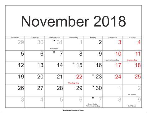 Calendar November 2018 November 2018 Calendar With Holidays Free Printable