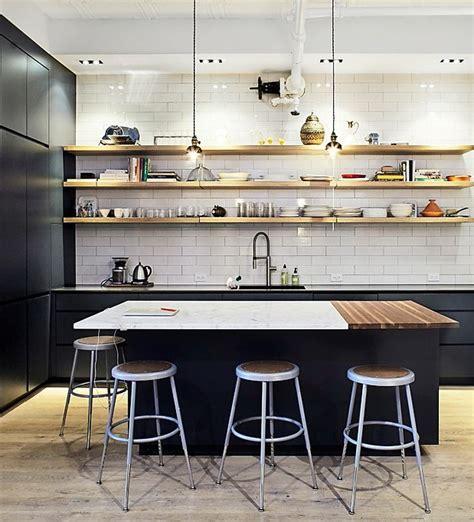 Black Kitchen Shelves Subway Tiles Black Cabinets Open Wood Plank Shelving