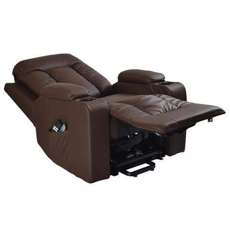 recliner with massage and heat napoli leather electric riser recliner chair single or