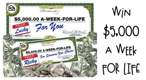 Publisher Clearing House 5000 A Week For Life - publishers clearing house announces 5000 a week for life