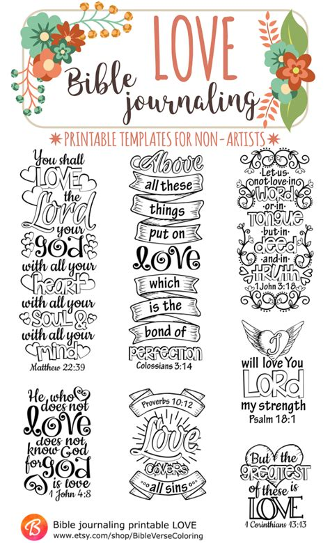 Love Bible Journaling Printable Templates Illustrated Christian Faith Bookmarks Black And Free Bible Journaling Templates