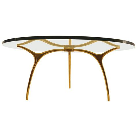 bronze and glass coffee table by kouloufi for ets