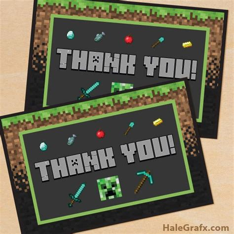minecraft printable thank you cards 673 best minecraft printables images on pinterest