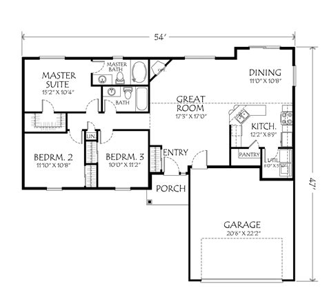 1 Story Home Plans Single Story House Plans Narrow Lot House Plans Single Story One Story 40x50 Floor Plan Home