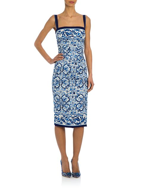 lyst dolce gabbana tile print ruched stretch silk charmeuse dress in white