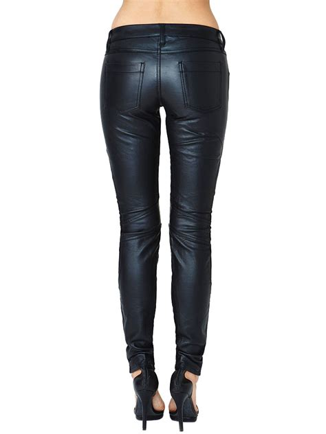 leather pants elegant women black patchwork button fly elastic leather