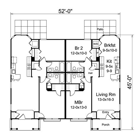 Multi Unit Home Plans by Multi Unit House Plan 138 1257 2 Bedrm 1004 Sq Ft Per