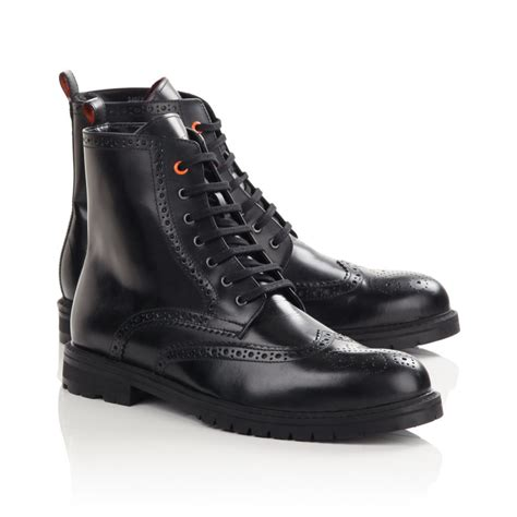 black lace up mens boots mens black aran brogue lace up boots