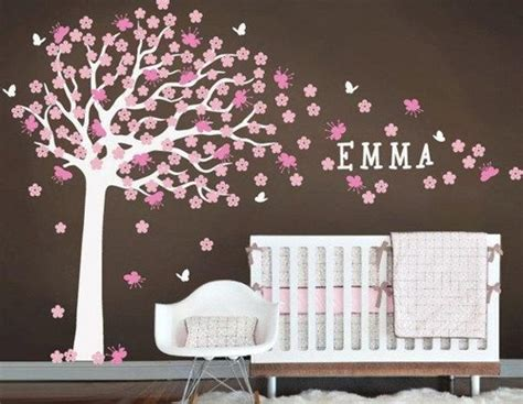 Nursery Wall Decals Tree Nursery Large Cherry Blossom Tree With Custom Name Decals Wall Sticker Vinyl Wall Decal