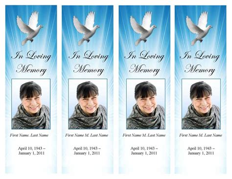 Funeral Program Templates Memorial Bookmark Template Celestial Dove In Loving Memory Bookmark Template Free