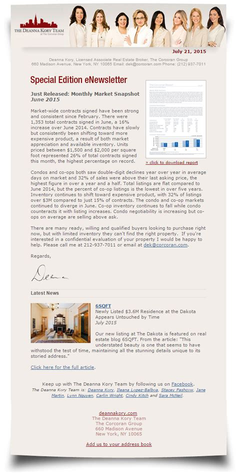 sle of newsletter newsletters the deanna kory team new york residential real estate sales