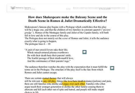 Romeo And Juliet Balcony Essay by How Does Shakespeare Make The Balcony And The In Romeo Juliet Dramatically