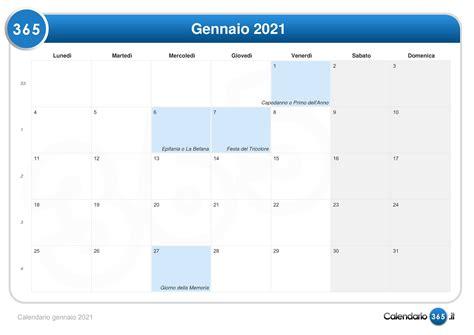 calendario con settimane calendario gennaio 2021